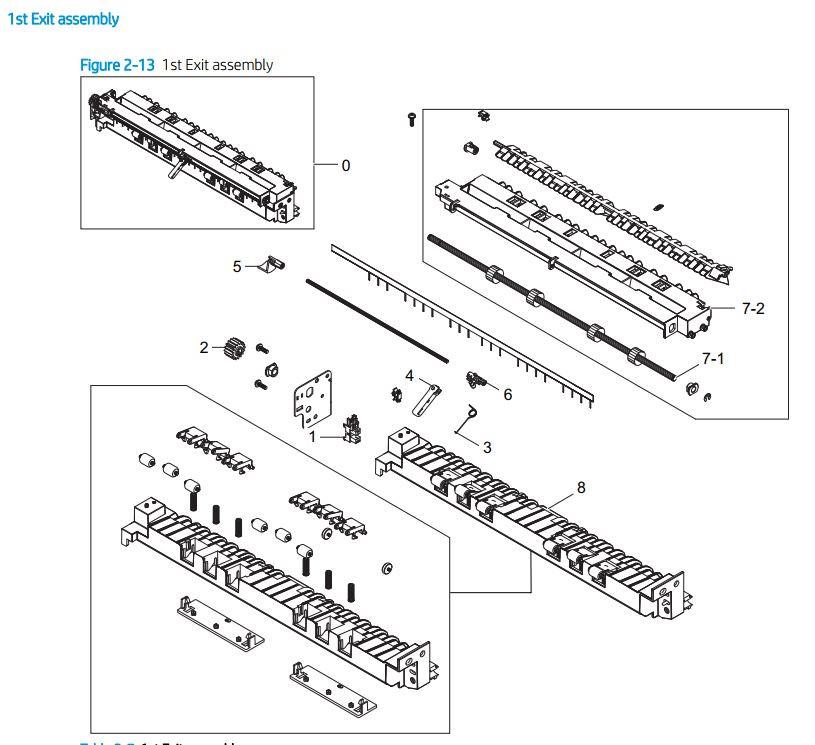 2. HP E72425 E72430 1st exit assembly printer parts diagram
