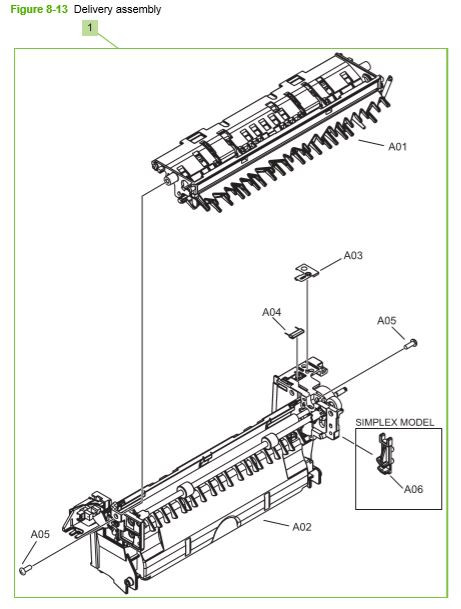 12) HP CP3525 Delivery assembly printer parts diagram