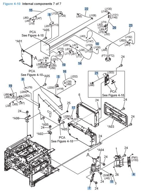 10) HP CP4025 CP4525 Internal Components 7 of 7 Printer Diagram