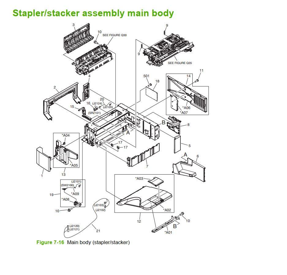 15-5. HP M5025 M5035 Stapler stacker assembly main body printer part diagrams