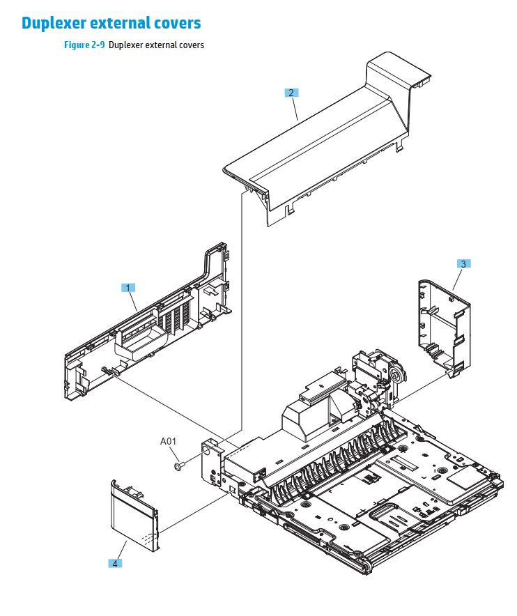 8. HP M701 M706 Duplexer external covers printer parts diagram