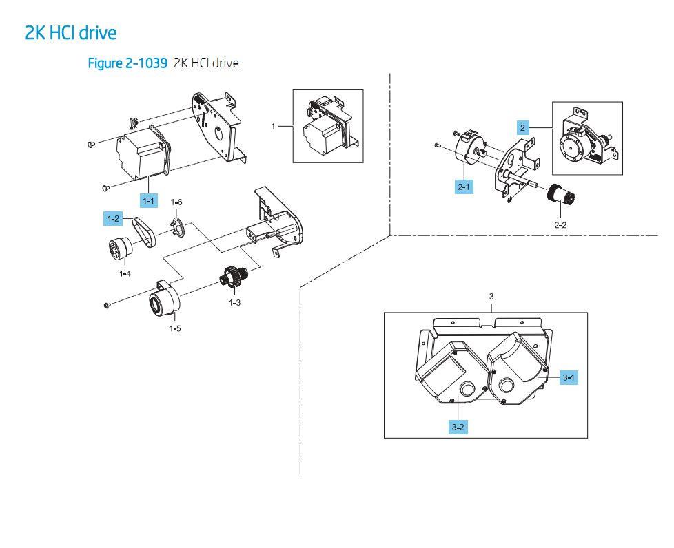 33. HP E87640 E87650 E87660 2000 Sheet HCI Feeder Drive Printer Part Diagrams