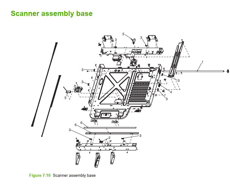 10. HP M5025 M5035 Scanner Assembly Base printer part diagrams