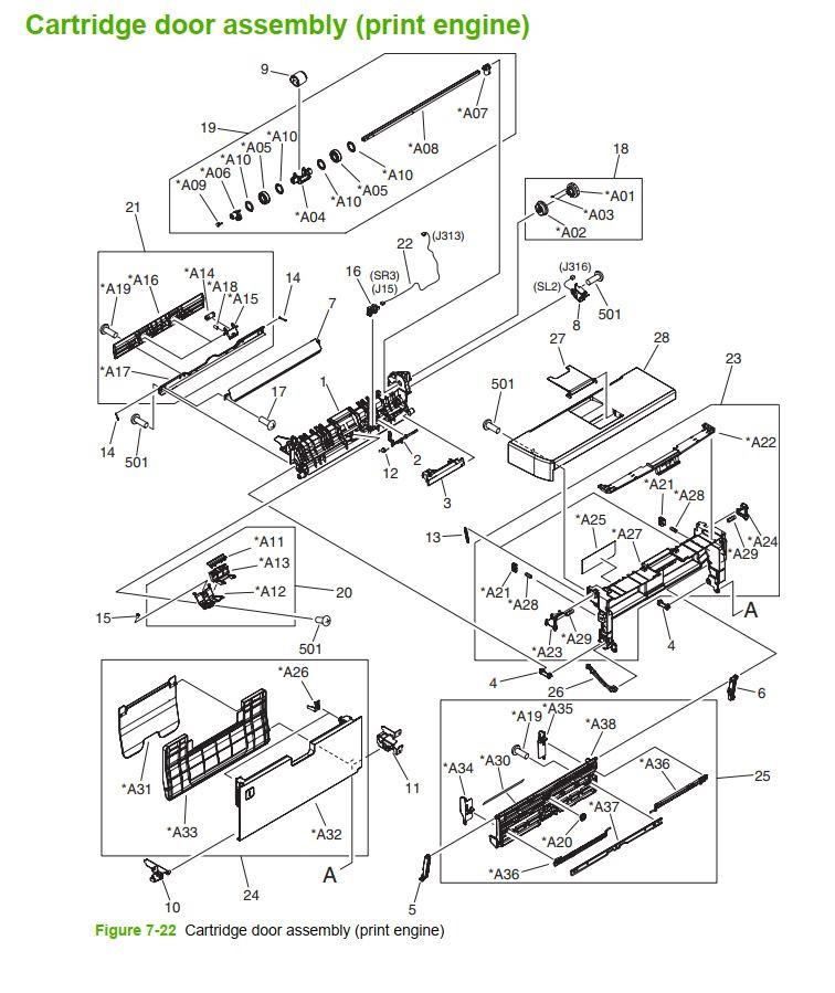 21. HP M5025 M5035 Cartridge door assembly printer part diagrams