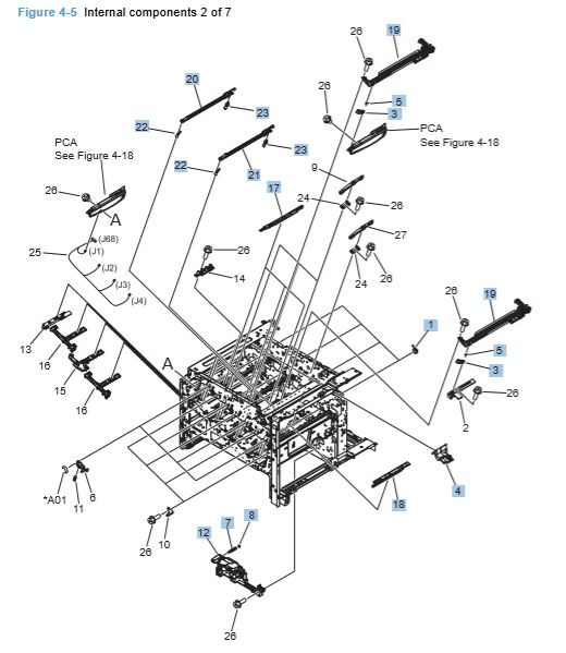 HP CP4025 CP4525 Internal Components 2 of 7 Printer Diagram