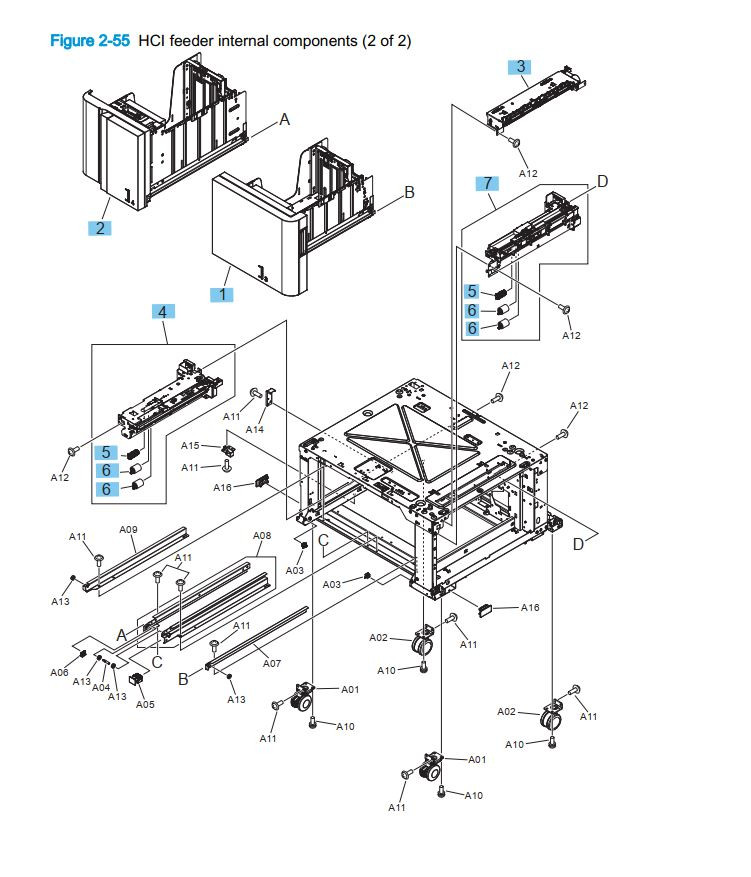 21. HP M855 M880 High capacity input HCI sheet feeder internal components 2 or 2 printer part diagrams