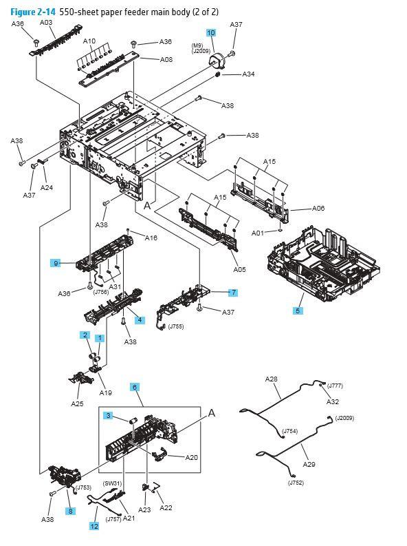 HP M452 M377 M477 550 Sheet Paper Feeder Main Body 2 of 2 Printer Diagram