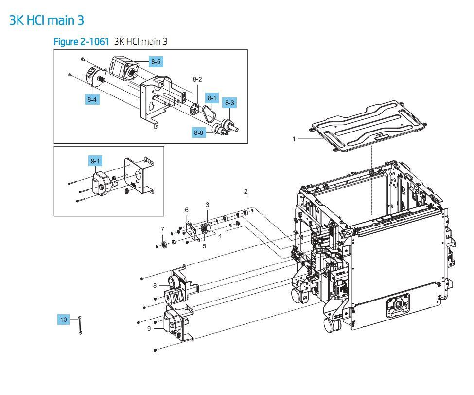 38. HP E87640 E87650 E87660 3000 sheet SHCI Cassette Feeder Main 3 Printer Part Diagrams