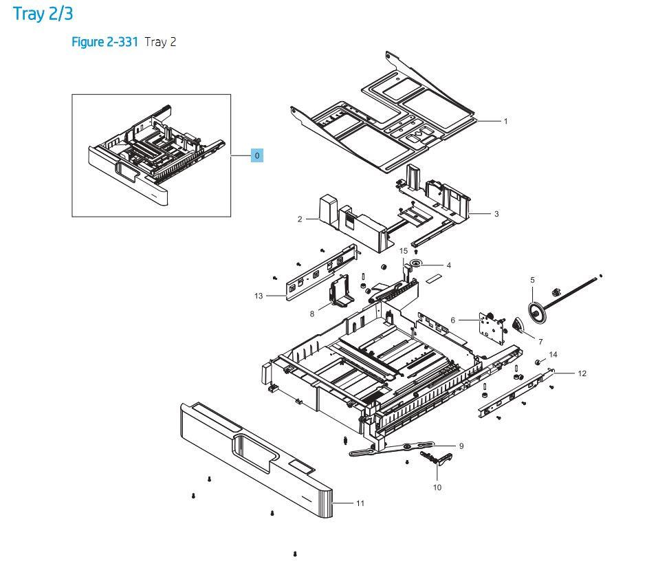 2.2 HP E87640 E87650 E87660 Tray 2 / 3 Assembly Printer Part Diagrams