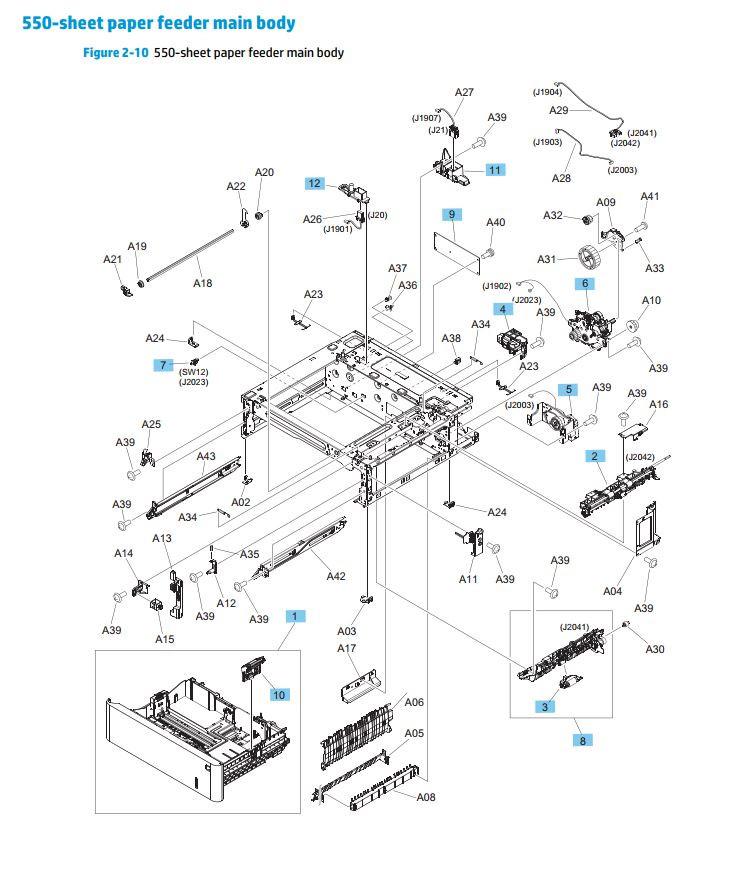 10. HP M552 M553 M577 550 sheet paper feeder main body printer parts diagram
