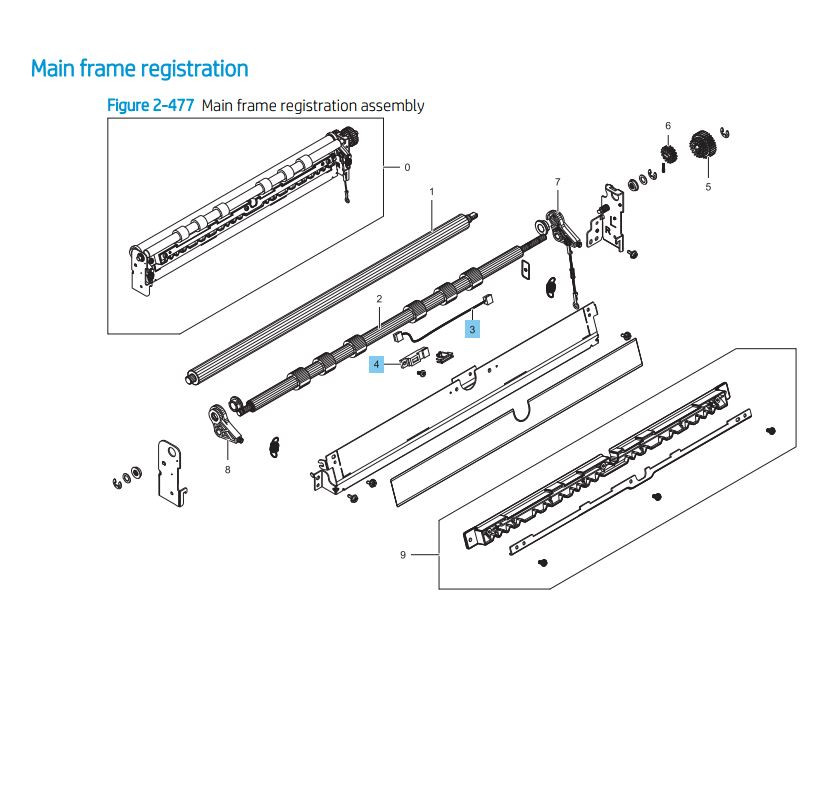 7. HP LaserJet E82540 E82550 E82560 Main Frame Registration Printer Parts Diagram