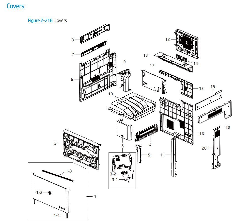 18. HP E77422 E77428 Cover panels, doors  printer parts diagram