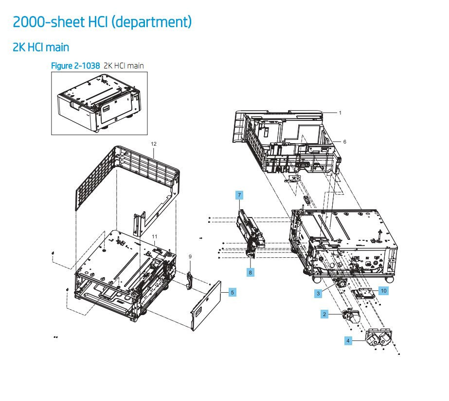 32. HP E87640 E87650 E87660 2000 Sheet HCI Feeder Printer Part Diagrams