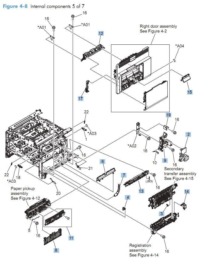 8. HP CM4540 Internal Components 5 of 7 printer parts diagram