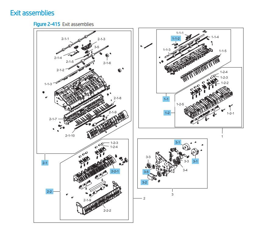 4. HP LaserJet E82540 E82550 E82560 Exit Assembly Printer Parts Diagram