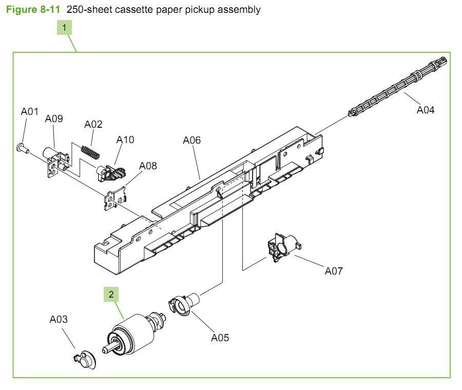 11. HP CM3530 250 sheet cassette paper pickup assembly printer parts diagram