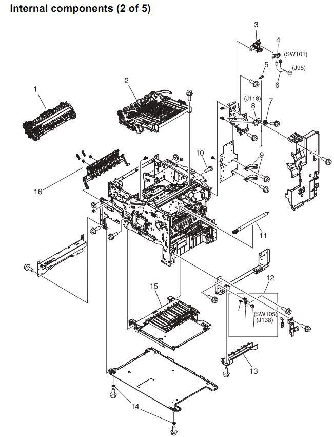 10. HP 4345 Q3942A 4345x Q3943A 4345xs Q3944A 4345xm Q3945A Internal components 2 or 5 Printer Part Diagrams