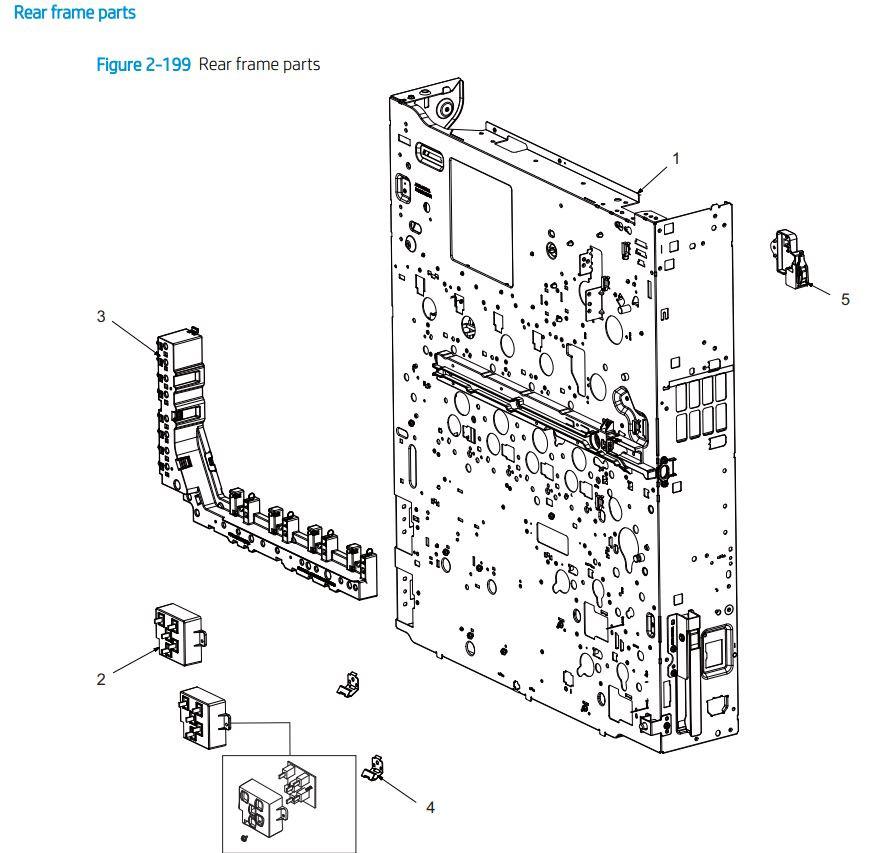 15. HP E77422 E77428 Rear frame parts printer parts diagram