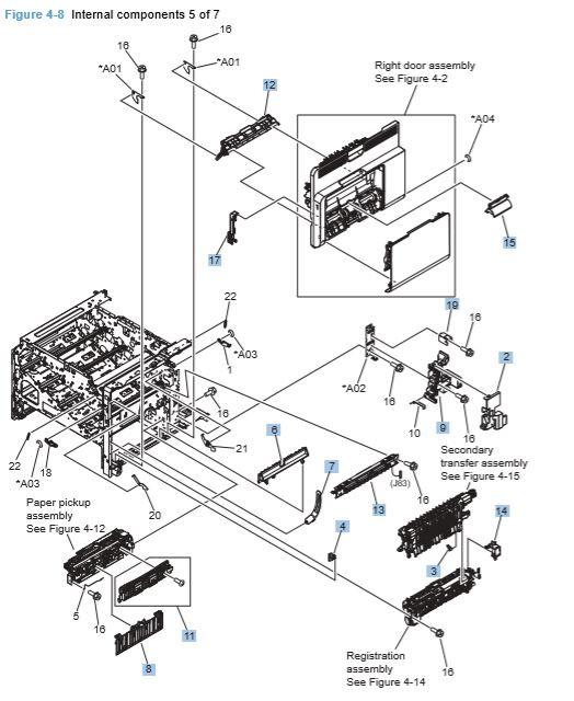 8) HP CP4025 CP4525 Internal Components 5 of 7 Printer Diagram