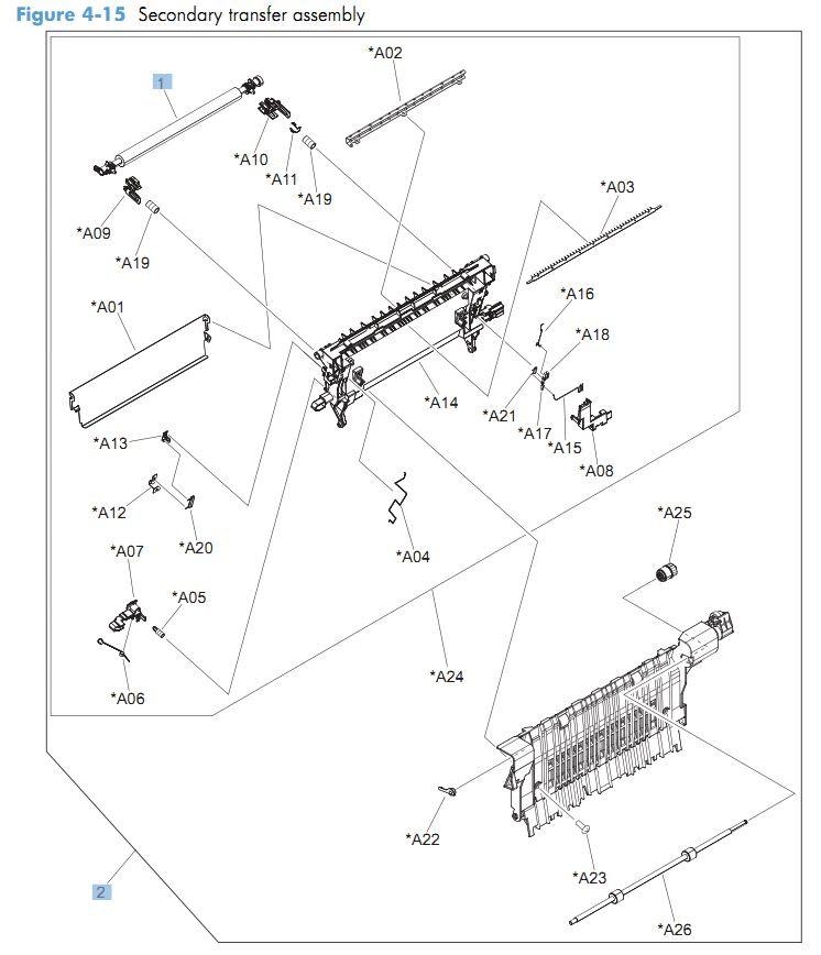 15. HP CM4540 Secondary transfer roller printer parts diagram
