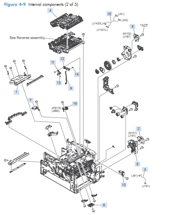 4. HP M4555 Internal Components 2 of 5 printer parts diagram