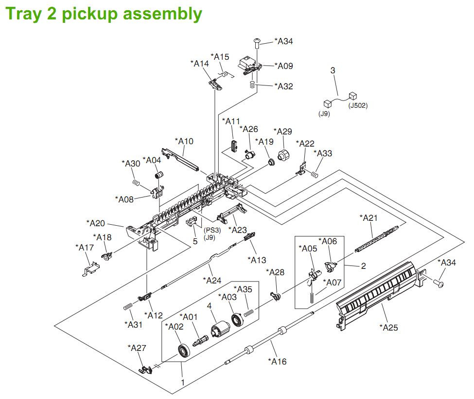 8. HP LaserJet P3005 Tray 2 pickup components Printer Parts Diagrams