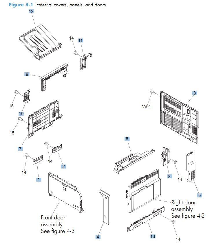 1. HP CM4540 Covers, Panels and doors printer parts diagram