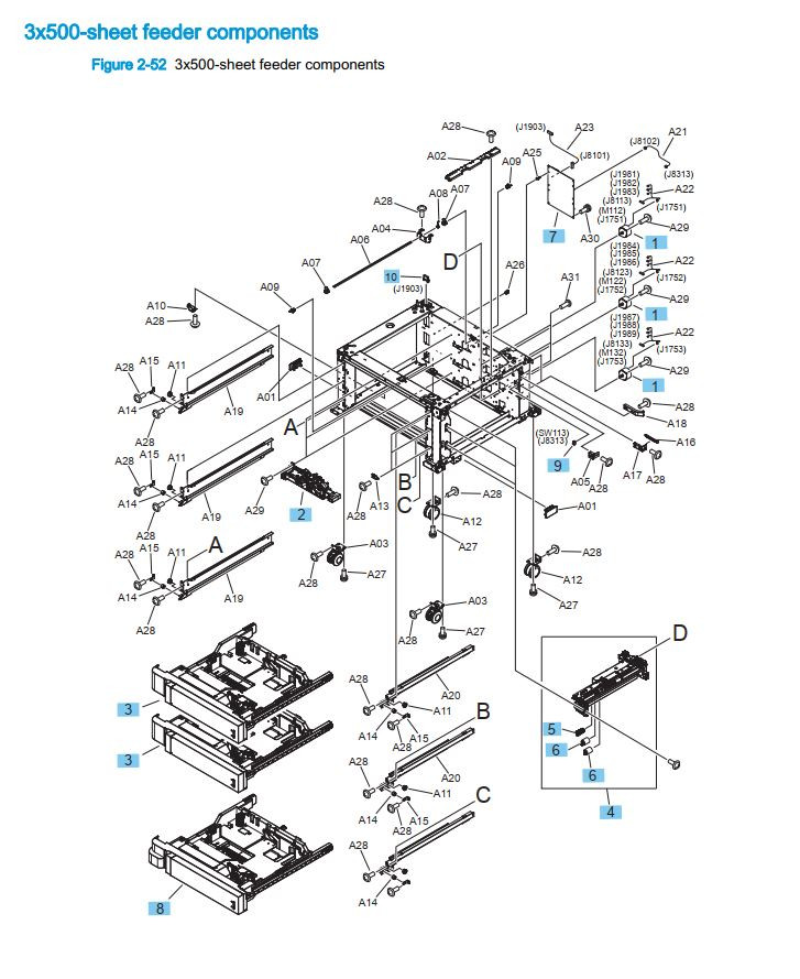 18. HP M855 M880 3 x 500 sheet feeder Components and printer part diagrams