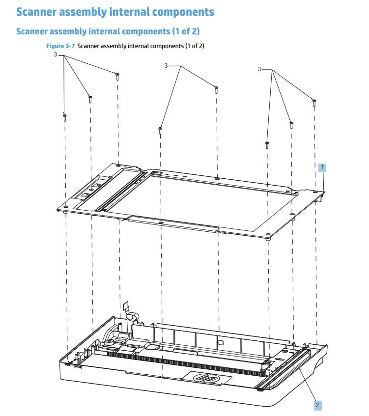 7. HP M225 M226 Scanner assembly internal components printer parts diagram