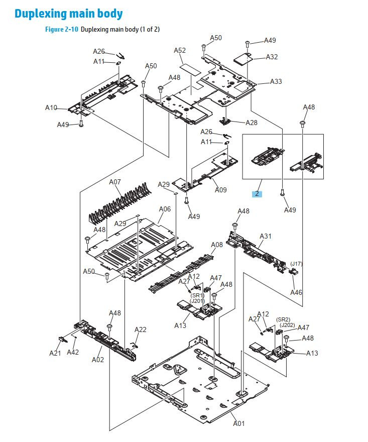 9. HP M701 M706 Duplexer main body printer parts diagram