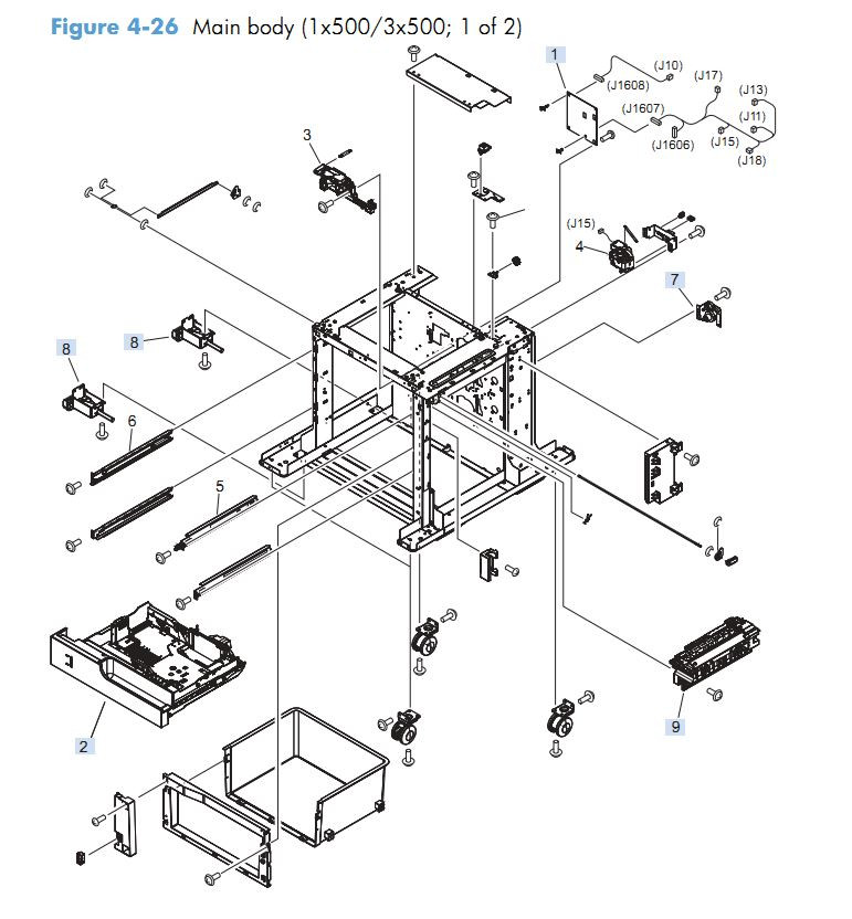 20. HP M4555 Covers paper feeder 1 x 500  3 x 500 1 of 2 sheet assembly printer parts diagram