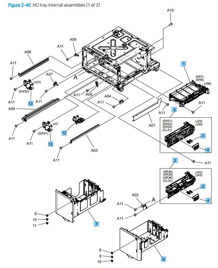 40. HP M776dn M776z M856 E85055 HCI paper tray internal assemblies 1 of 2 printer parts diagram