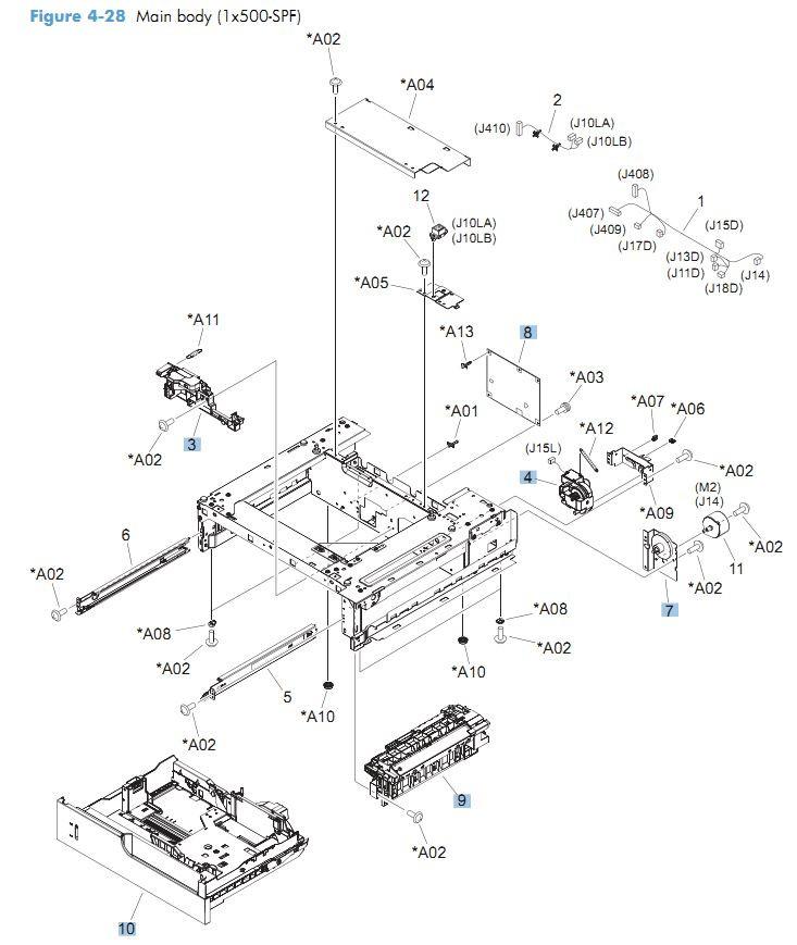 28. HP CM4540 500 sheet feeder main body printer parts diagram