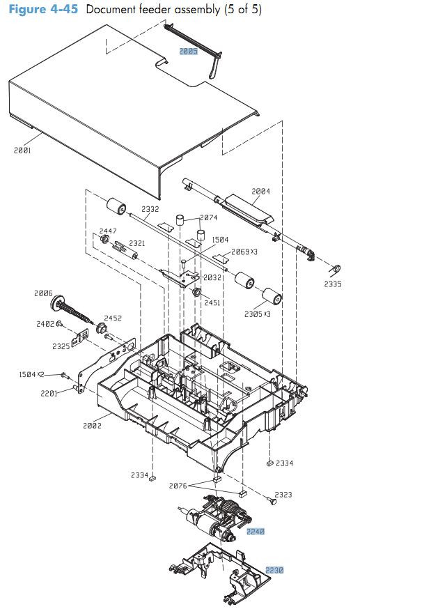 45. HP CM4540 Document feeder assembly 5 of 5 printer parts diagram