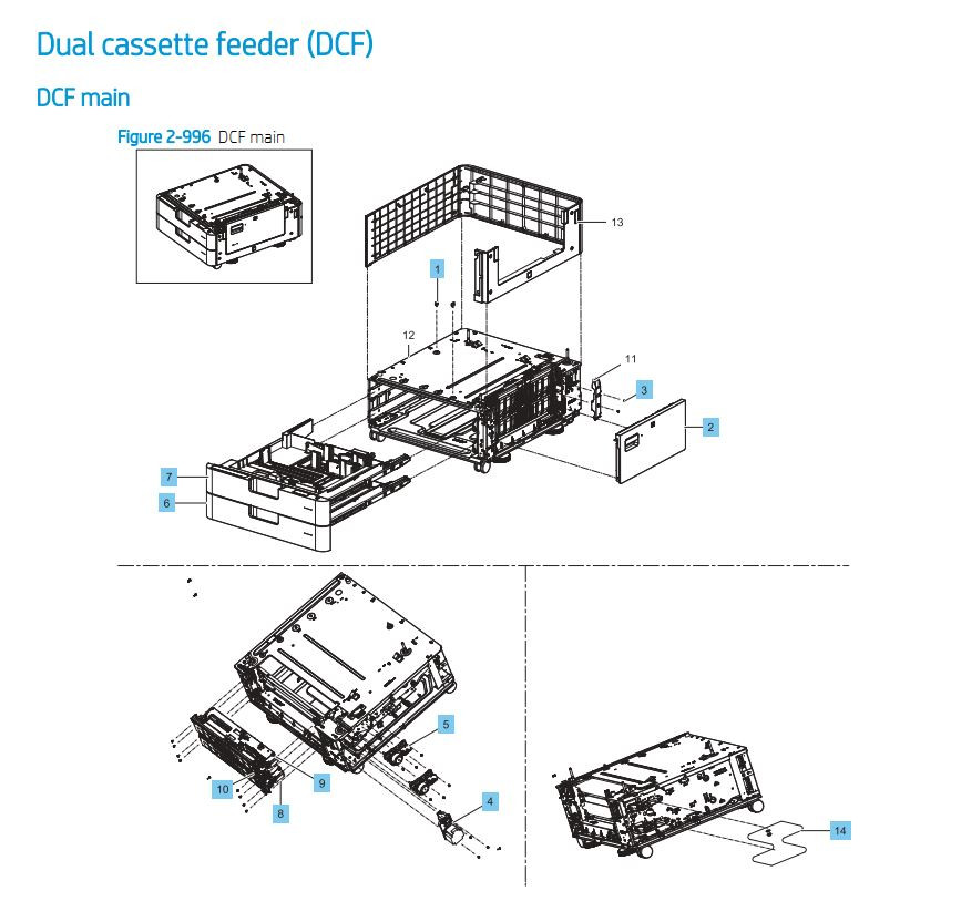 27. HP E87640 E87650 E87660 Duel Cassette Feeder DCF Paper Tray Printer Part Diagrams