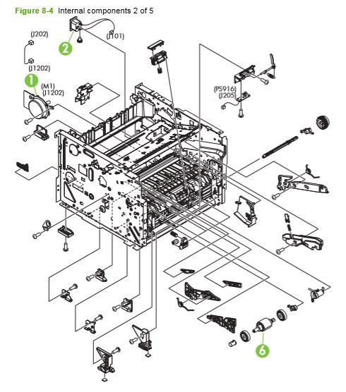 4. HP P2030 P2035 P2050 P2055 Internal assemblies 2 of 5 printer parts diagram