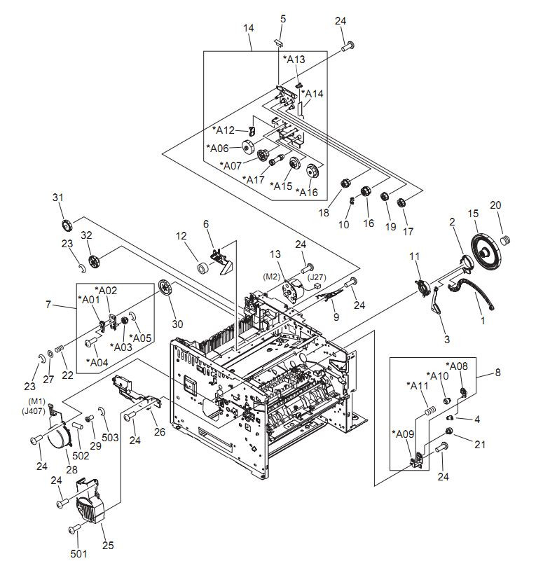 3. HP LaserJet P3005 Internal components 2 of 6 Printer Parts Diagrams
