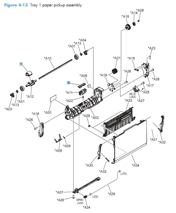 13. HP CM4540 Tray 1 paper pickup assembly printer parts diagram