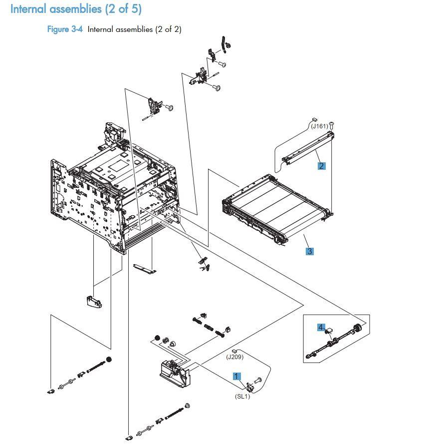 4.  HP LaserJet M375 M475 Internal assemblies 2 of 5 printer part diagrams