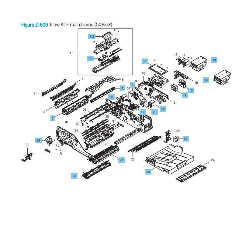 25. HP LaserJet E82540 E82550 E82560 Flow ADF main frame GX sGX models Assembly Printer Parts Diagram