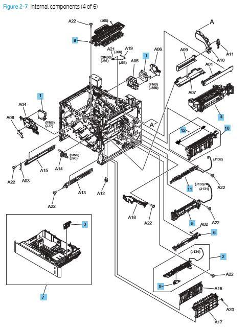 7. HP M652 M653 M681 M682 E65050, E65060, E67550dh, E67560z Internal assemblies 4 of 6 printer parts diagram
