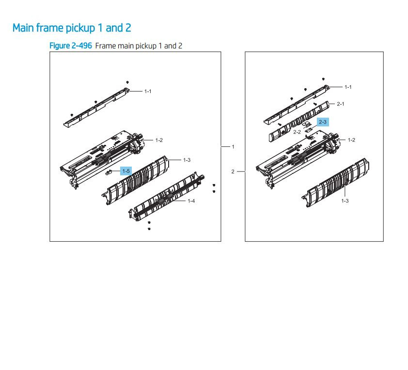 9. HP LaserJet E82540 E82550 E82560 Main Frame pickup 1 and 2 Assembly Printer Parts Diagram