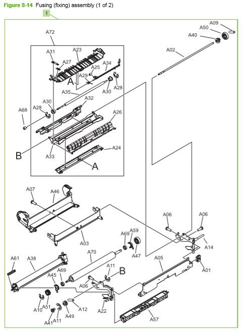 13) HP CP3525 Fuser, fusing assembly printer parts diagram