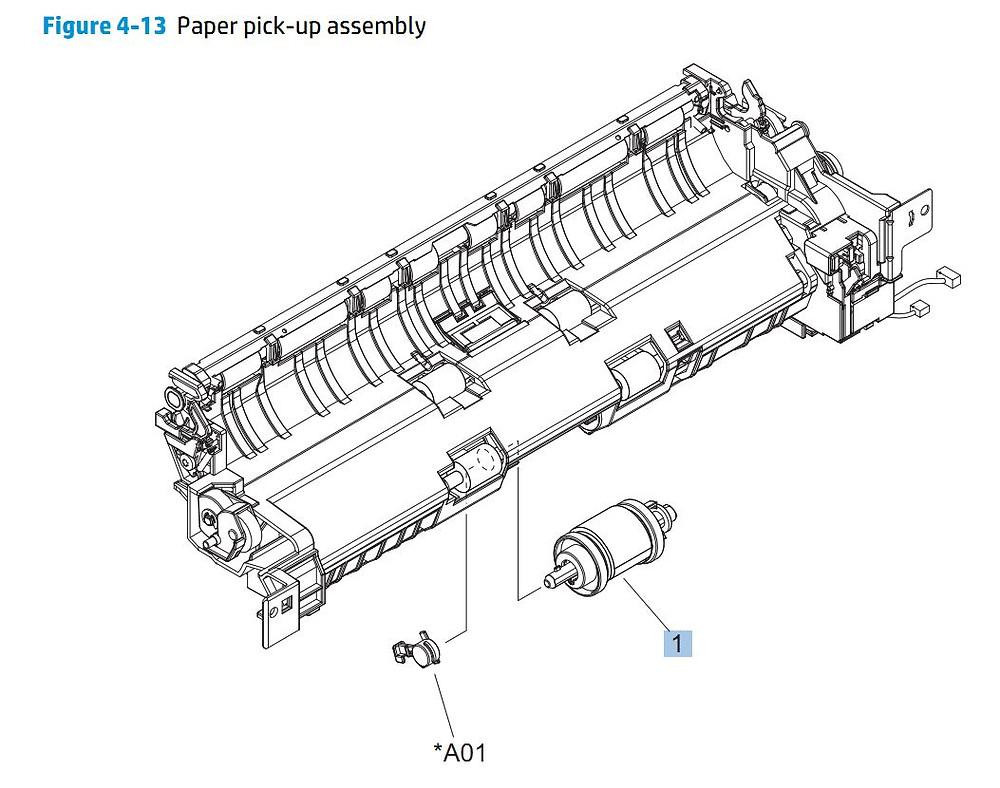 13. HP CP5525n Paper pickup assembly printer parts diagram