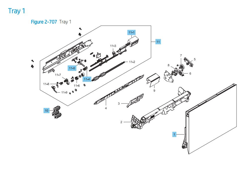 13. HP E87640 E87650 E87660 Tray 1 Printer Part Diagrams