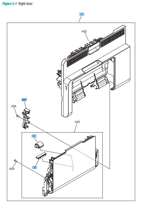 7. HP M680 M651 Right door printer parts diagram