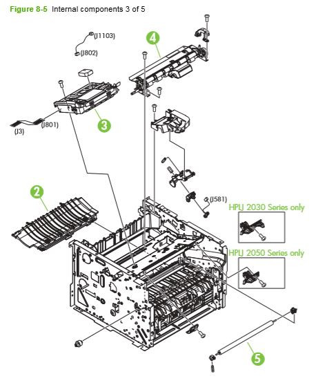 5. HP P2030 P2035 P2050 P2055 Internal assemblies 3 of 5 printer parts diagram
