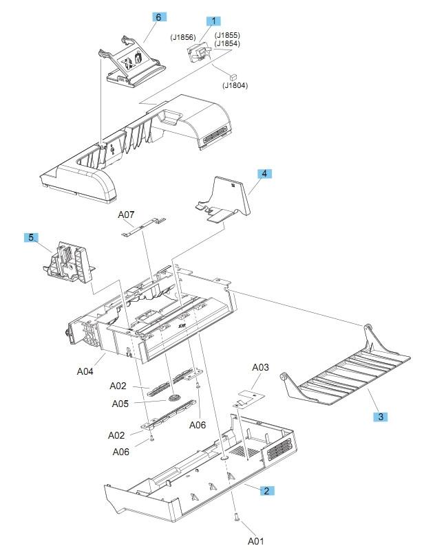 Envelope feeder Covers M604 M605 M606  Printers Part Diagram