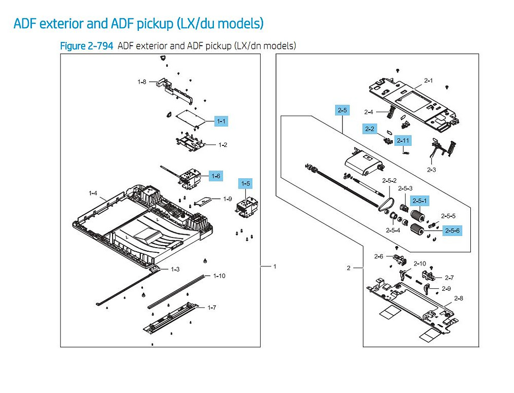 18. HP E87640 E87650 E87660 ADF Exterior ADF Pickup Printer Part Diagrams