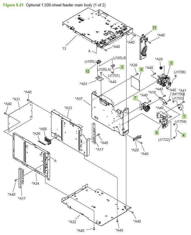 17) HP P4014 P4015 P4515 Optional 1500 sheet feeder main body printer parts diagram